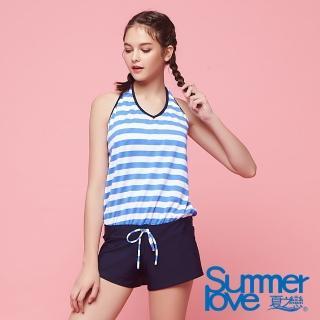 【Summer Love 夏之戀】加大碼條紋連身褲三件式泳衣(S18733)