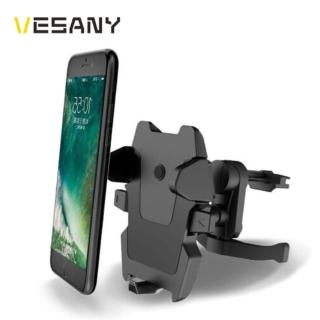 【VESANY】三點支撐自動鎖緊 汽車出風口手機架 單手操作 角度可調(汽車手機架)