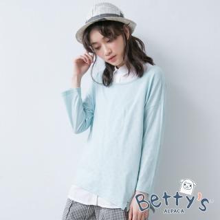 【betty's 貝蒂思】無袖翻領襯衫+棉質長袖上衣(淺綠)
