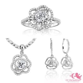 【CC Diamond】山茶花套組*山茶花鑽石系列*(GIA鑽戒+GIA鑽墜+義大利14K項鏈+鑽石耳環)