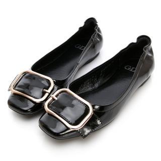 【GDC】真皮扣環春夏淑女上班包鞋-黑色(814701)