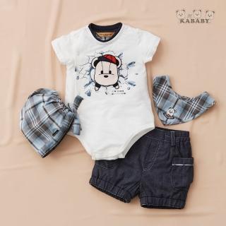 【金安德森】春夏彌月禮盒-帽子熊兔裝+牛仔短褲(米色)
