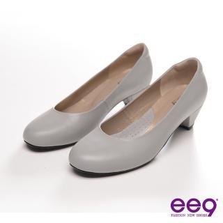 【ee9】ee9 都會簡約~復古純色霧面真皮質感高跟鞋~低調灰(跟鞋)