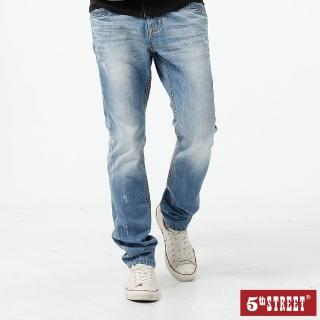 【5th STREET】男粗線小直筒褲-拔洗藍