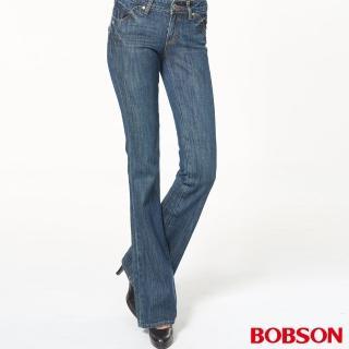 【BOBSON】女款低腰中喇叭褲(藍9027-53)