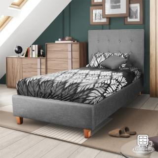 【Hampton 漢汀堡】莫里斯布面拉扣單人床-灰(免運/單人床/床組/床/床架/北歐風)