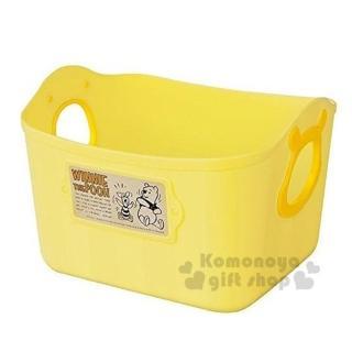 〔小禮堂〕迪士尼 小熊維尼 日製置物籃《2.5L.黃.造型提把.方形》輕鬆美化空間