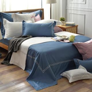 【La Belle】典雅風範 加大長絨細棉刺繡被套床包組