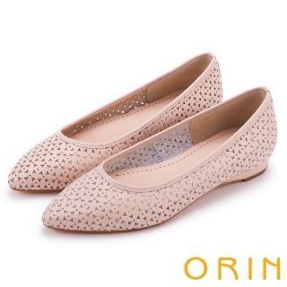 【ORIN】微甜女孩 趣味雕花沖孔牛皮平底尖頭鞋(粉膚)
