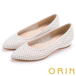 【ORIN】微甜女孩 趣味雕花沖孔牛皮平底尖頭鞋(白色)