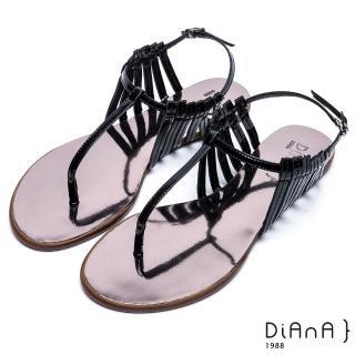 【DIANA】摩登時尚--層次細帶線條T字夾腳涼鞋(黑)