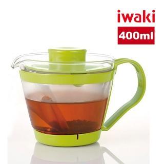 【iwaki】日本品牌耐熱玻璃沖茶器/茶壺-附濾茶網(綠色-400ml)
