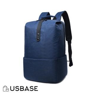 【USBASE】15吋 時尚千鳥紋大容量雙肩筆電後背包(藍色)