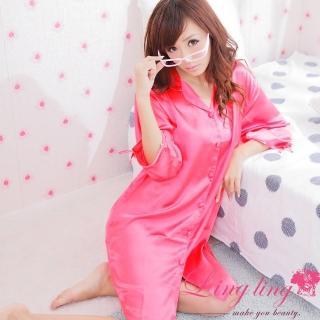 【lingling】A147全尺碼-誘惑心機襯衫式絲緞連身睡衣(珊瑚紅)