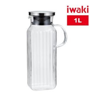 【iwaki】日本品牌不鏽鋼系列玻璃把手方形耐熱玻璃水壺(1000ml)
