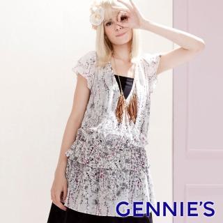 【Gennies 奇妮】潑墨感雪紡V領長版上衣(粉/灰G3304)