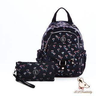 【冰山袋鼠】楓糖瑪芝-輕旅單肩後背兩用包+零錢包2件組(花卉黑)
