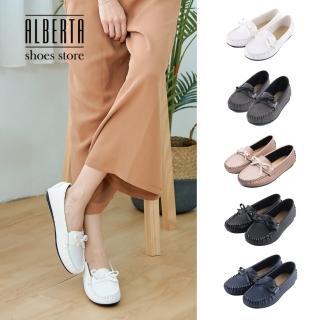 【Alberta】蝴蝶結簡約造型平底豆豆鞋莫卡辛鞋款