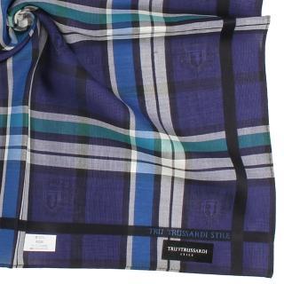 【TRUSSARDI】經典家徽LOGO學院風正格紋純綿帕巾(靛藍色)