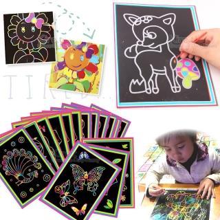 兒童 炫彩 卡通DIY刮刮畫 多款隨機10入-附竹籤刮筆(韓國流行 創意 刮畫 刮刮樂)
