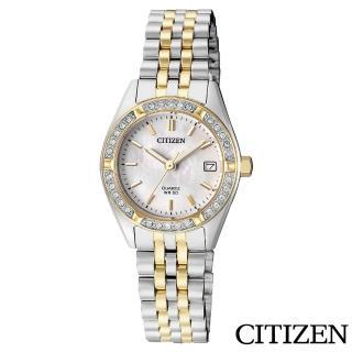 【CITIZEN 星辰】奢華璀璨白蝶貝雙色石英女錶(EU6064-54D)