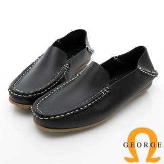 【GEORGE 喬治皮鞋】水洗系列 素面縫線懶人樂福鞋休閒鞋-黑