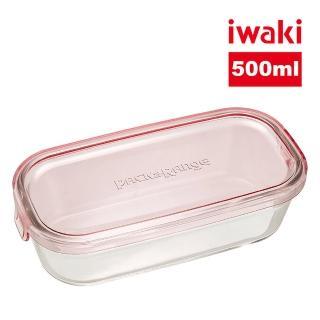 【iwaki】日本耐熱抗菌玻璃長方形微波保鮮盒500ml(粉色)