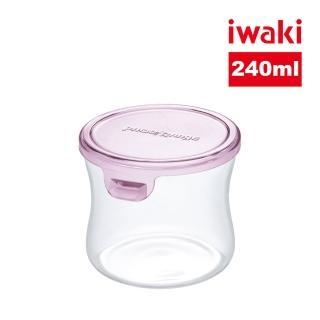 【iwaki】日本耐熱抗菌玻璃圓形微波保鮮盒240ml(粉色)