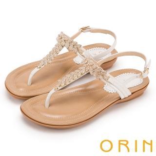 【ORIN】耀眼時尚 葉子造型鑽飾牛皮夾腳涼鞋(白色)