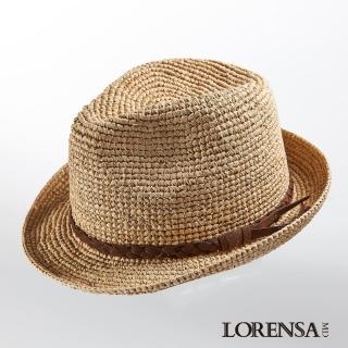 【Lorensa蘿芮】中性款 拉菲亞草質感飾帶遮陽紳士草帽