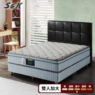 【S&K】高蓬度+CoolMax涼感紗+乳膠+記憶膠蜂巢式獨立筒床墊(雙人加大6尺)