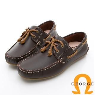 【GEORGE 喬治皮鞋】水洗系列 素面繩結大底休閒鞋-咖