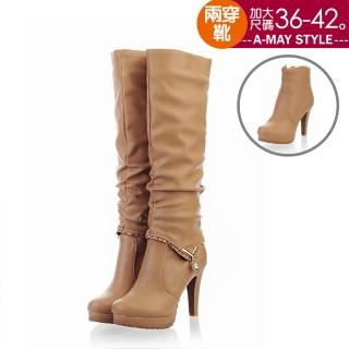 【Amay Style 艾美時尚】兩穿長靴-水鑽寶石質感高跟長靴(黑.預購)