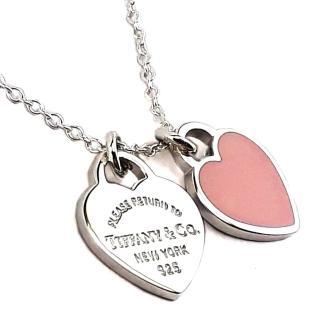 【Tiffany&Co. 蒂芙尼】心心相映迷你吊牌墜飾925純銀粉紅瓷項鍊