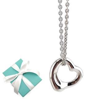【Tiffany&Co. 蒂芙尼】迷你Open Heart 925純銀愛心墜飾項鍊