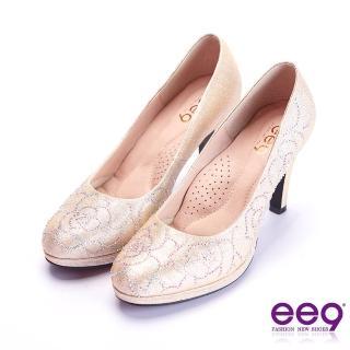 【ee9】芯滿益足璀璨奢華鑲嵌亮鑽跟鞋 金色(跟鞋)