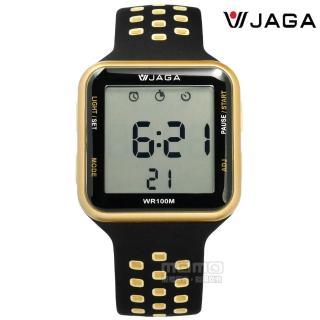 【JAGA捷卡】方型電子 計時碼錶 鬧鈴 防水100米 透氣運動 矽膠手錶 黑金色 38mm(M1179C-AL)