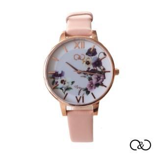 【C&C】義大利紫色印花腕錶(5度防水玫瑰金錶殼)