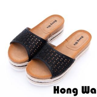 【HongWa】Hong Wa 夏日清涼水鑽沖孔厚底拖鞋(黑)