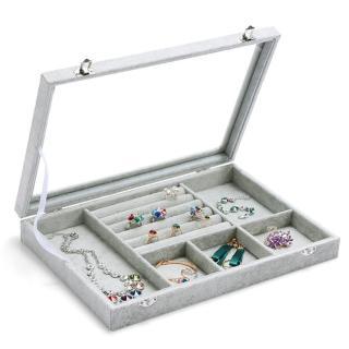 【梨花HaNA】超強收納六合一冰花絨飾品收納盒/珠寶箱展示櫃