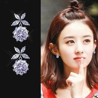 【梨花HaNA】無耳洞韓國925銀蝶漾水晶小巧耳環