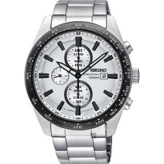 【SEIKO 精工】Criteria 太陽能計時碼錶-銀/43mm(V176-0AV0W  SSC653P1)