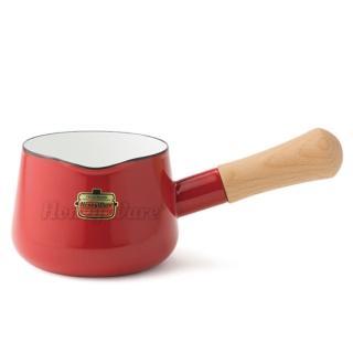 【Honey ware】日本富士琺瑯 Solid系列-12cm單柄琺瑯牛奶鍋0.75L-熱情紅(琺瑯/牛奶鍋)