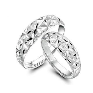 【I-SHINE】滿天星光-閃耀星星壓紋可調節鍍銀戒指男女對戒(滿天星光)