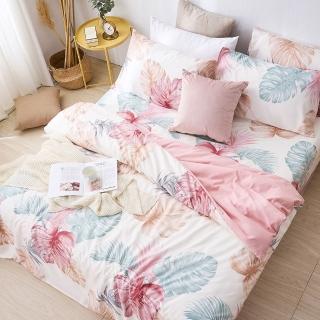 【DUYAN 竹漾】台灣製天絲絨雙人加大床包涼被四件組-紅鶴樂園