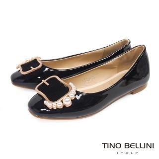 【TINO BELLINI 貝里尼】綺麗珍珠皮帶飾釦平底娃娃鞋F83015(黑)