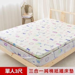 【米夢家居】夢想家園-MIT冬夏兩用純棉+紙纖三合一高支撐記憶床墊(單人3尺-白日夢)