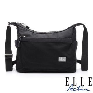 【ELLE active】Fish Net 漁網系列-彎月型側背包/斜背包-大-黑色