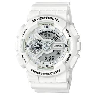 【CASIO 卡西歐】G-SHOCK 夏季白黑強悍運動錶(GA-110MW-7A)