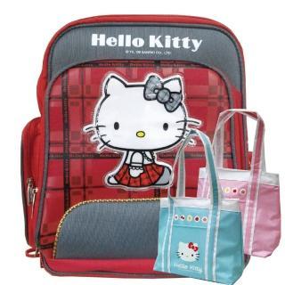 【imitu 米圖】HELLO KITTY 凱蒂貓蘇格蘭格紋高級護脊書包+保溫萬用袋(1+1組合品)